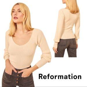 NEW Reformation Hart Wide Neck Sweater in Cream